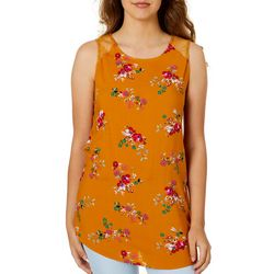 Be Bop Juniors Floral Lace Yoke Back Tank Top