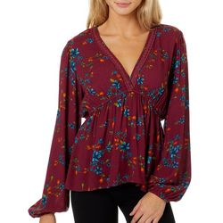 Be Bop Juniors Crochet Trim Floral Print Long Sleeve Top