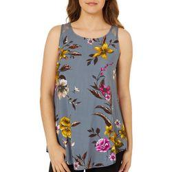 Be Bop Juniors Floral Print Lace Back Tank Top