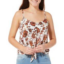 Be Bop Juniors Floral Tie Front Button Sleeveless Top