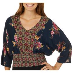 Be Bop Juniors Floral Tile Print Ruched Top