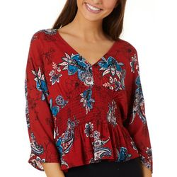 Be Bop Juniors Floral Paisley Smocked Waist Top
