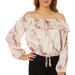 Be Bop Juniors Cold Shoulder Tie Dye Long Sleeve Top