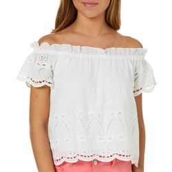 Roommates Juniors Eyelet Off The Shoulder Top