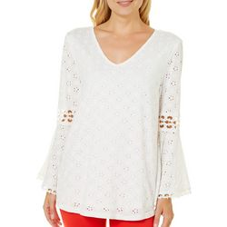 Roommates Juniors Crochet Eyelet Bell Sleeve Top