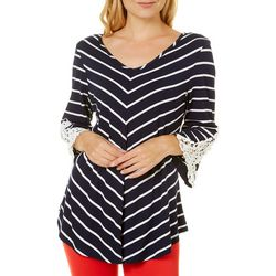 Roommates Juniors Striped Chevron Crochet Bell Sleeve Top