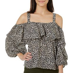 Kontrol Juniors Leopard Print Shoulder Top