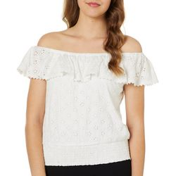Roommates Juniors Banded Eyelet Off The Shoulder Top