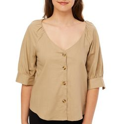 Roommates Juniors Solid Linen Button Down Top