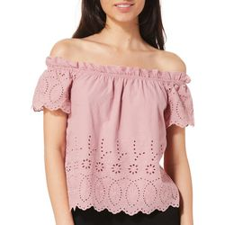 Roommates Juniors Floral Eyelet Off The Shoulder Top