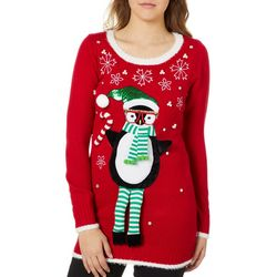 Its Our Time Juniors Embellished Penguin Tunic Sweater