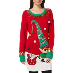 Fashion Ave Knits Juniors Jolly Elf Tunic Sweater