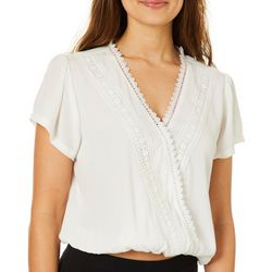 Its Our Time Juniors Solid Embroidered Surplice Top