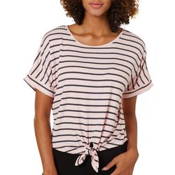 Its Our Time Juniors Striped Tie Front Dolman Top