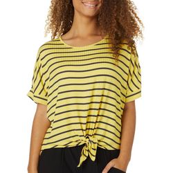 Its Our Time Juniors Yellow Striped Tie Front Dolman Top