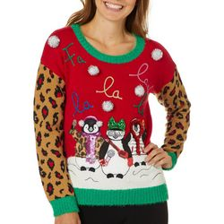 Its Our Time Juniors Embellished Peguin Carolers Sweater
