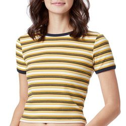 Unionbay Juniors Ribbed Stripe Ringer Cropped Top