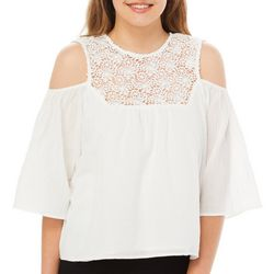 PPLA Juniors Floral Crochet Yoke Cold Shoulder Top