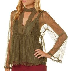 Taylor & Sage Juniors Bell Sleeves Lace Top