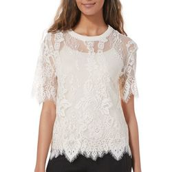 Taylor & Sage Juniors Floral Lace Scalloped Top