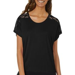 Messy Buns, Lazy Days Juniors Solid Lace Panel Top