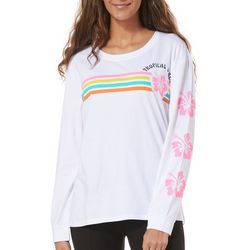 Messy Buns, Lazy Days Juniors Tropical Vibes Long Sleeve Top