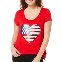 Messy Buns, Lazy Days Juniors American Flag Heart Top