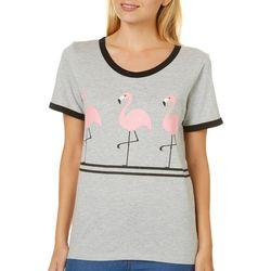 Messy Buns, Lazy Days Juniors Flamingo Trio T-Shirt