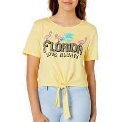 Messy Buns, Lazy Days Juniors Florida Flamingo Cropped