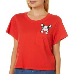 Messy Buns, Lazy Days Juniors Puppy Pocket T-Shirt