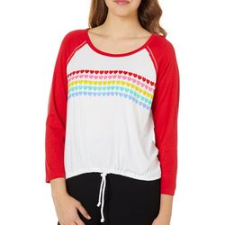Messy Buns, Lazy Days Juniors Colorblock Heart Top