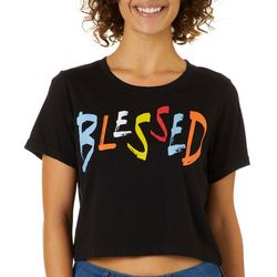 Messy Buns, Lazy Days Juniors Cropped Blessed T-Shirt