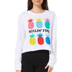 Messy Buns, Lazy Days Juniors Cropped Feelin' Fine Top
