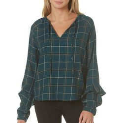 Kale Generation Juniors Plaid Tie Neck Top