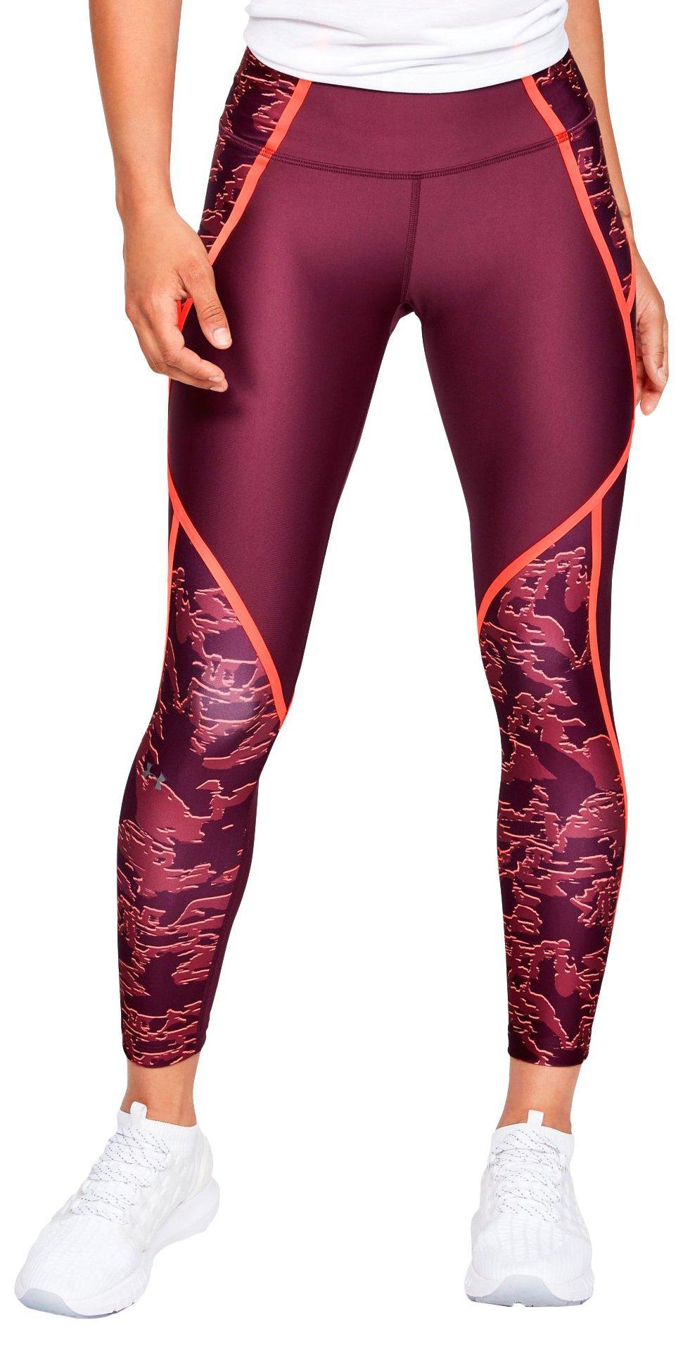 Under Armour Damen Fitness-Sport-Leggings HeatGear Crop-Leggings schwarz orange