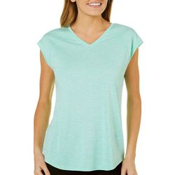 Brisas Womens Solid Heathered V-Neck Top