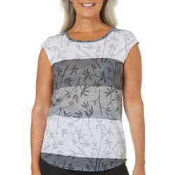 Brisas Womens Bamboo Fronds Print Dolman Top