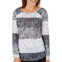 Brisas Womens Bamboo Fronds Long Sleeve Top