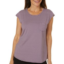 Brisas Womens Striped Chest Pocket Cap Sleeve Top
