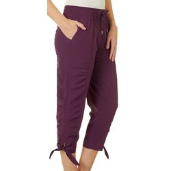 Brisas Womens Solid Ruched Leg Active Jogger Pants