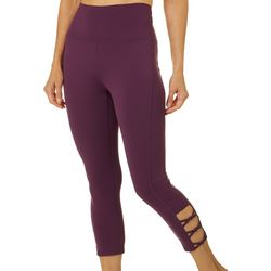 Brisas Womens Solid Knot Detail Capri Leggings
