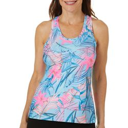 Brisas Womens Tropical Hibiscus Print Tank Top