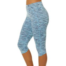Brisas Womens Space Dyed Zipper Pocket Capri Leggings