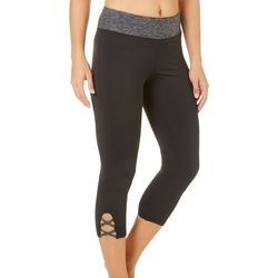 Brisas Womens Space Dye Waistband Lattice Capri Leggings