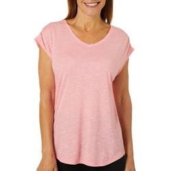 Brisas Womens Ruched Sleeve Jersey Slub V-Neck T-Shirt