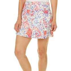 Brisas Womens Colorful Scroll Print Skort