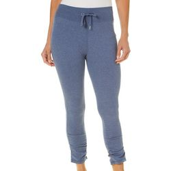 Brisas Womens Heathered Ruched Hem Capris