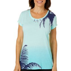 Brisas Womens Palm Tree Dip Dyed Short Sleeve Top