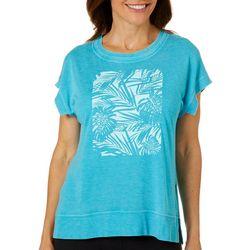 Brisas Womens Solid Palm Leaf Screen Print Top