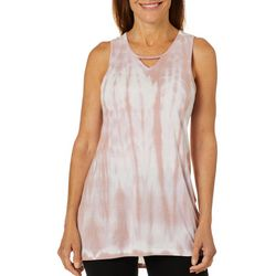 Brisas Womens Tie Dye Sharkbite Hem Mesh Panel Tank Top